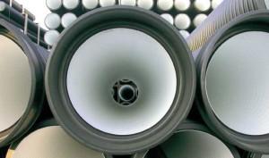 На фото - двухслойные канализационные гофрированные трубы, polyplastic.ua
