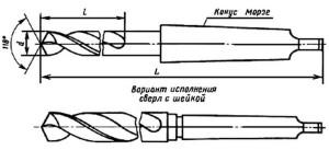 Сверла с коническим хвостовиком ГОСТ 22736