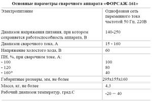 На фото - характеристики инвертора Форсаж 161, mastercity.ru