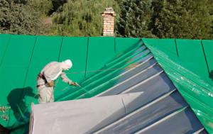 Фото окраски оцинкованной крыши пневмопистолетом, kryshadoma.com
