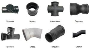 На фото - чугунные фитинги для труб канализации, vse-o-trubah.ru