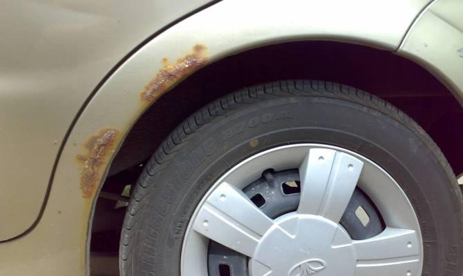 Процесс ржавления участков машины